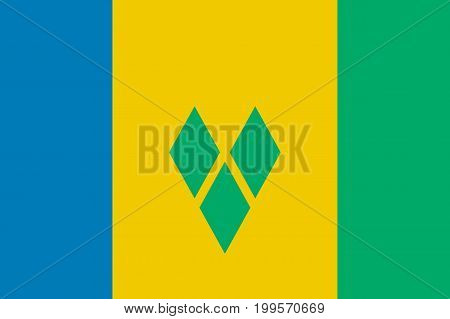 Flag Saint Vincent flat icon. State insignia of the nation in flat style on the entire page. National symbol in the form of a vector illustration