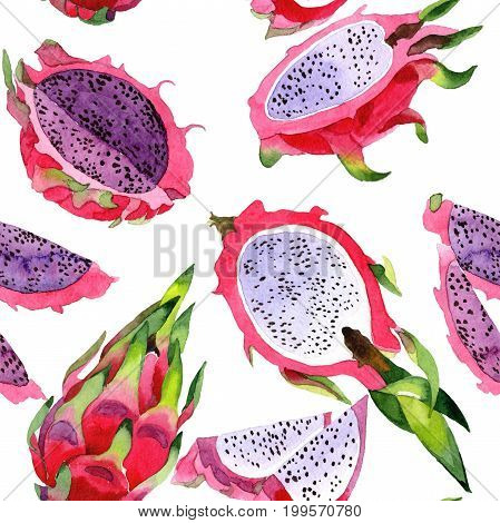 Exotic pitaya healthy food pattern in a watercolor style. Full name of the fruit: pitaya. Aquarelle wild frukt for background, texture, wrapper pattern or menu.