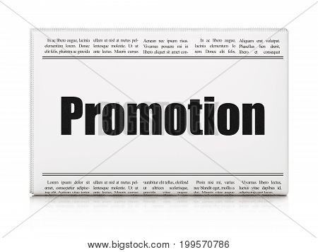 Marketing concept: newspaper headline Promotion on White background, 3D rendering