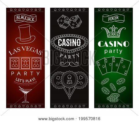 Casino party invitation with decorative elements. Gambling symbols. Vintage vector illustration