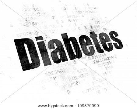 Health concept: Pixelated black text Diabetes on Digital background