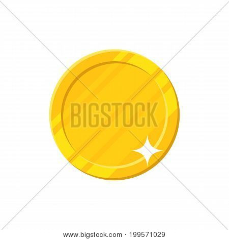 Clean coin bright shining. Blank template for finance, accounting, management and economics poster. Cartoon vector illustration on white background