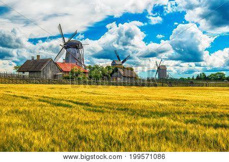 Saarema Island, Estonia: summer fields and Angla windmills in Leisi Parish