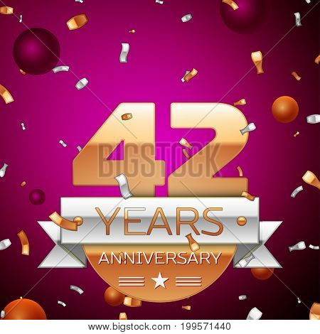 Realistic Forty two Years Anniversary Celebration Design. Golden numbers and silver ribbon, confetti on purple background. Colorful Vector template elements for your birthday party