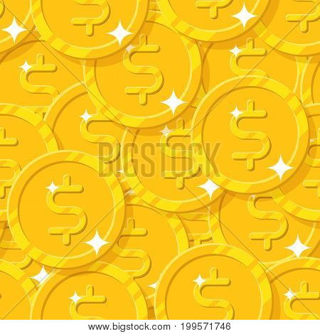 Placer gold dollars style seamless pattern. Background of gold dollars as a pattern for designers and illustrators. Cover of gold pieces in the form of vector illustration