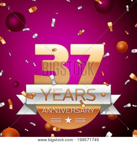 Realistic Thirty seven Years Anniversary Celebration Design. Golden numbers and silver ribbon, confetti on purple background. Colorful Vector template elements for your birthday party