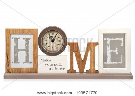 Beautiful writing home with clock instead of letters o, isolated on white background
