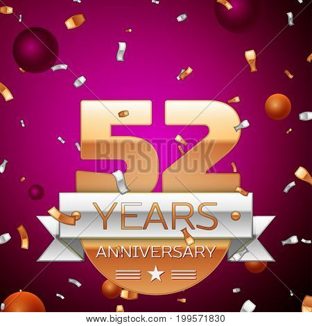 Realistic Fifty two Years Anniversary Celebration Design. Golden numbers and silver ribbon, confetti on purple background. Colorful Vector template elements for your birthday party