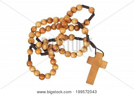 Wooden rosary with cross  isolated on white background