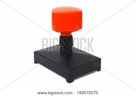 Modern plastic rubber stamp isolated on white background