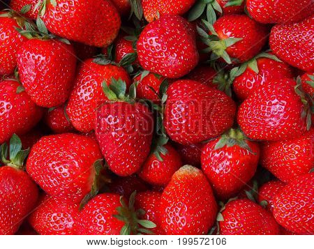 Macro of strawberries can be used as a background