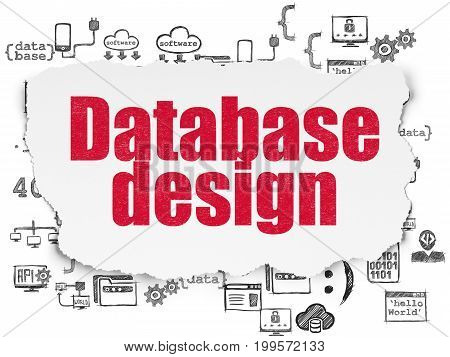 Software concept: Painted red text Database Design on Torn Paper background with  Hand Drawn Programming Icons