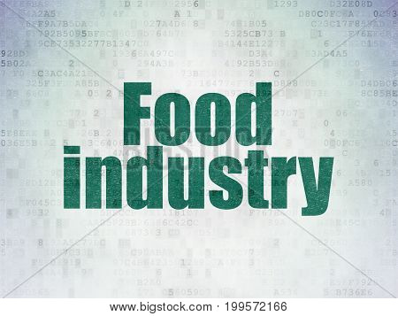 Industry concept: Painted green word Food Industry on Digital Data Paper background