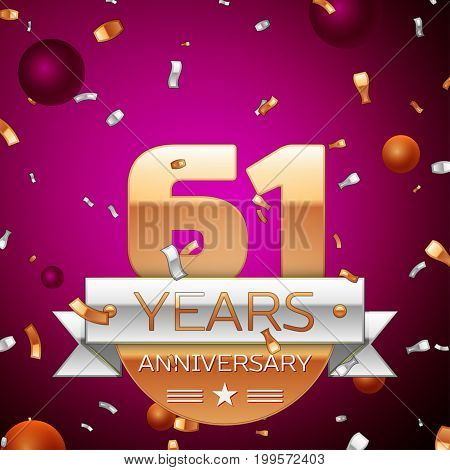 Realistic Sixty one Years Anniversary Celebration Design. Golden numbers and silver ribbon, confetti on purple background. Colorful Vector template elements for your birthday party