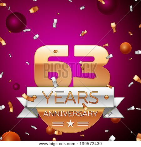 Realistic Sixty three Years Anniversary Celebration Design. Golden numbers and silver ribbon, confetti on purple background. Colorful Vector template elements for your birthday party