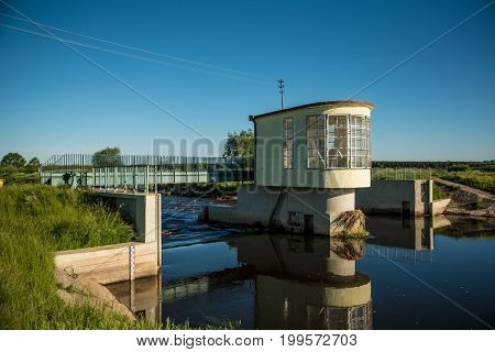 floodgate on the Narew river in Poland