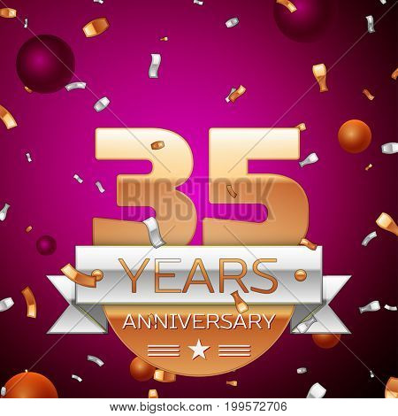 Realistic Thirty five Years Anniversary Celebration Design. Golden numbers and silver ribbon, confetti on purple background. Colorful Vector template elements for your birthday party