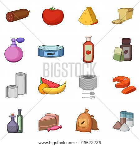 Supermarket department icons set. Cartoon illustration of 16 supermarket department vector icons for web