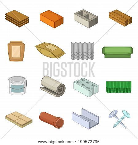 Building material interior icons set. Cartoon illustration of 16 building material vector icons for web