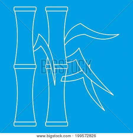 Bamboo icon blue outline style isolated vector illustration. Thin line sign