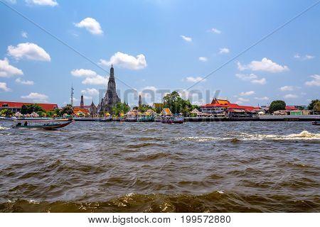 Beautiful view of Wat Arun on Chao Phraya River in Bangkok Thailand