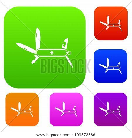 Swiss multipurpose knife set icon in different colors isolated vector illustration. Premium collection