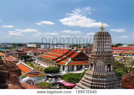 Beautiful view of Grand palace and Wat Phra Kaew from Wat Arun temple in Bangkok Thailand