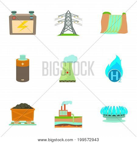 Eco industry icons set. Cartoon set of 9 eco industry vector icons for web isolated on white background