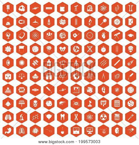 100 science icons set in orange hexagon isolated vector illustration