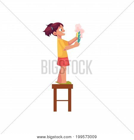 Little girl washing a plate, standing on stool, daily routine, cartoon vector illustration isolated on white background. Cartoon little girl washing a plate with sponge and soap, helping mother