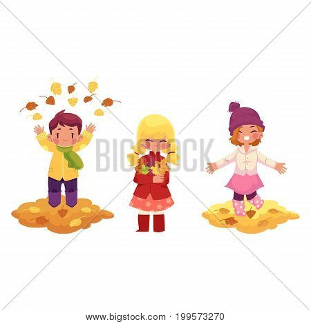 vector kids playing with falling leaves character set. girls , boy collect autumn falling leaves throw it up in autumn clothing. cartoon isolated illustration on a white background Autumn kids activity