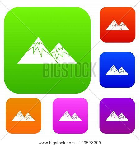 Swiss alps set icon in different colors isolated vector illustration. Premium collection
