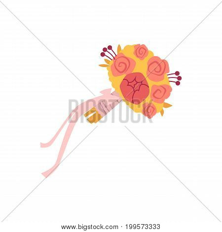 vector flat cartoon bridal bouquet isolated illustration on a white background. Wedding floral symbol for your design