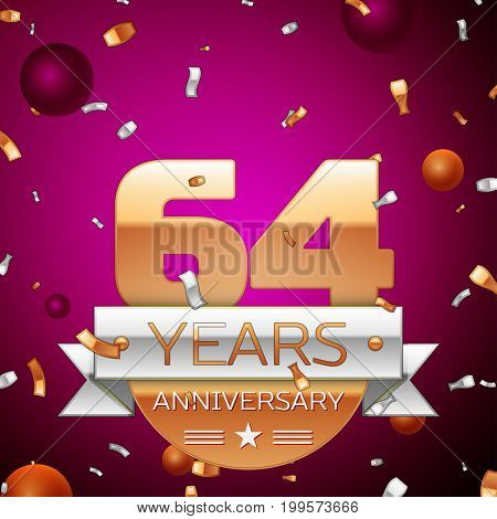 Realistic Sixty four Years Anniversary Celebration Design. Golden numbers and silver ribbon, confetti on purple background. Colorful Vector template elements for your birthday party