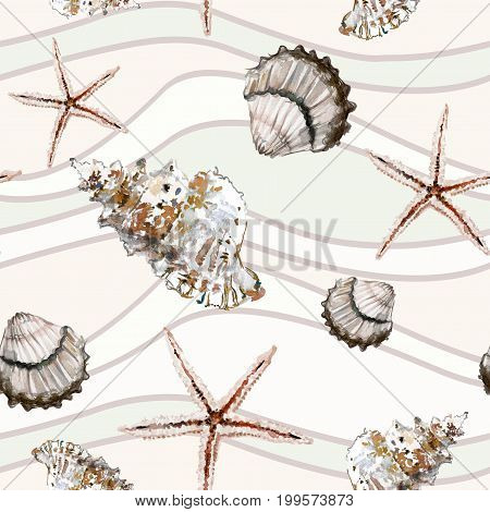 Seamless Marine Pattern With Shells And Starfish On Background With Beige And Light Green Wavy Lines