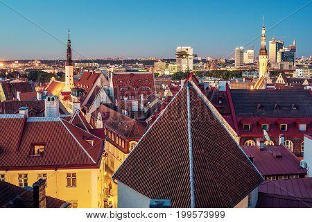 Tallinn, Estonia: aerial top view of the  beautiful old town at night