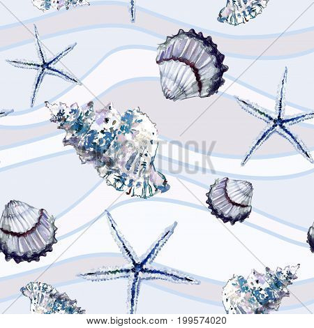 Seamless Marine Pattern With Shells And Starfish On Background With Beige And Light Blue Wavy Lines.