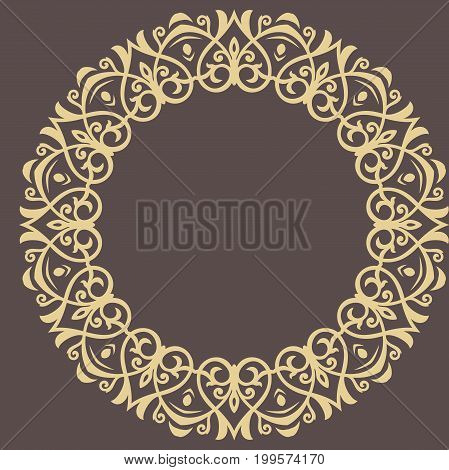 Oriental vector pattern with arabesques and floral elements. Traditional classic round golden ornament. Vintage pattern with arabesques