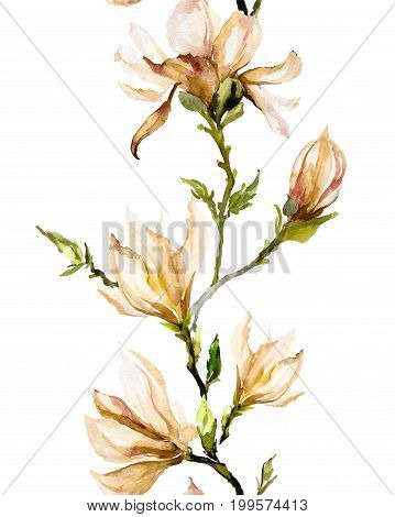 Beige Magnolia Flowers On A Twig On White Background. Seamless Pattern. Watercolor Painting.