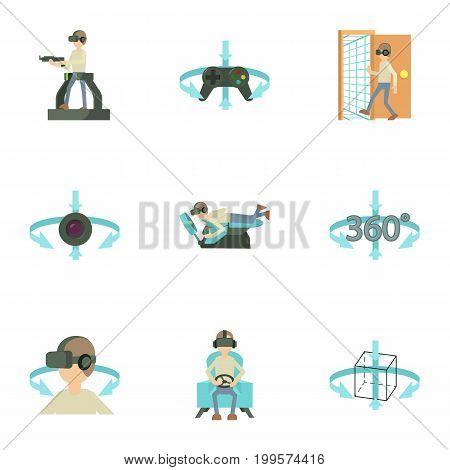 Virtual simulation icons set. Cartoon set of 9 virtual simulation vector icons for web isolated on white background