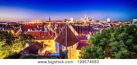 Tallinn, Estonia: aerial top view of the old town at night