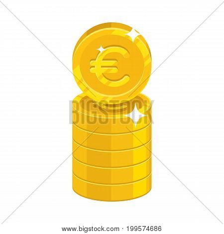 Column gold euro isolated cartoon icon. Three heaps of gold euro and euro signs for designers and illustrators. Gold stacks of pieces in the form of a vector illustration