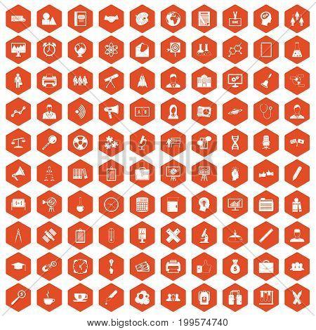 100 seminar icons set in orange hexagon isolated vector illustration