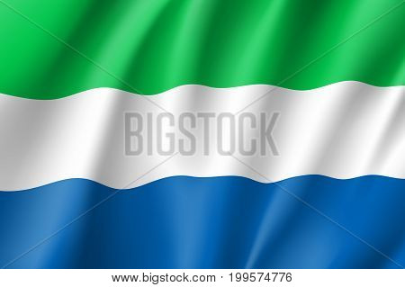 Sierra Leone flag. National patriotic symbol in official country colors. Illustration of Africa state waving flag. Realistic vector icon