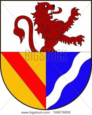 Coat of arms of Lorrach is a district in the southwest of Baden-Wurttemberg Germany. Vector illustration from the