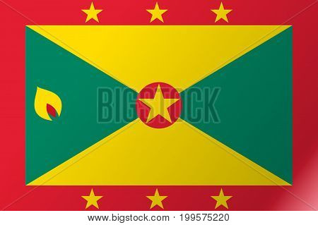 Flag Grenada flat icon. State insignia of the nation in flat style on the entire page. National symbol in the form of a vector illustration