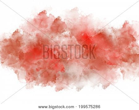Artistic red watercolor splash effect template on white background