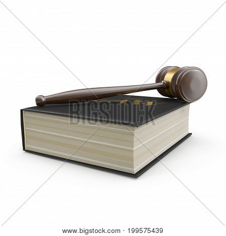 Law Book and Gavel on white background. 3D illustration