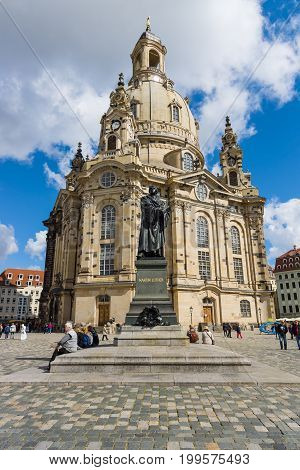 DRESDEN GERMANY - SEPTEMBER 09 2015: Dresden Frauenkirche (Church of Our Lady). Dresden is the capital of Saxony.
