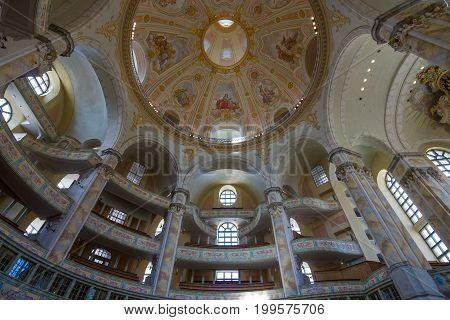 DRESDEN GERMANY - SEPTEMBER 09 2015: Interior of the Dresden Frauenkirche (Church of Our Lady). Dresden is the capital of Saxony.